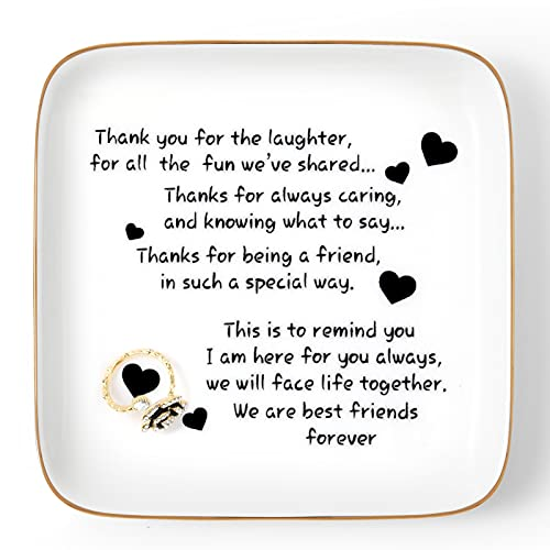 Friend Gift for Women Birthday, Trinket Ring Dish with Thank You Sayings,...