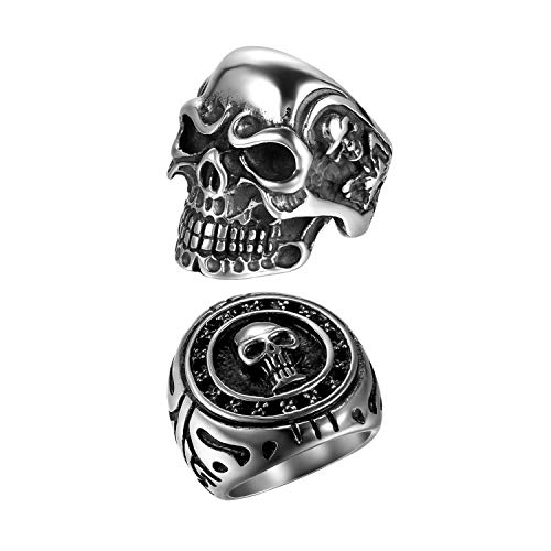 OIDEA 2Pcs Bikers Stainless Steel Gothic Skulls Ring,Black Silver, Size 8