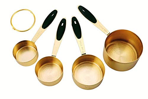 The Fitz Collection Modern Gold Measuring Cups Stainless Steel - Exquisite & Elegant, High End, Durable, Mirror Polished 4 piece set