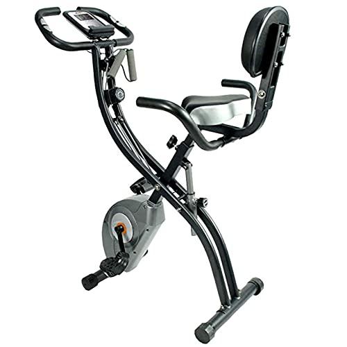Bicicleta deportiva fitness Bicicleta ejercicio 4in1 con respaldo y sistema cuerda integrado - Sensores pulso mano Ergómetro Plegable bicicleta fitness dispositivo entrenamiento-Gris 45.7*26.2inch