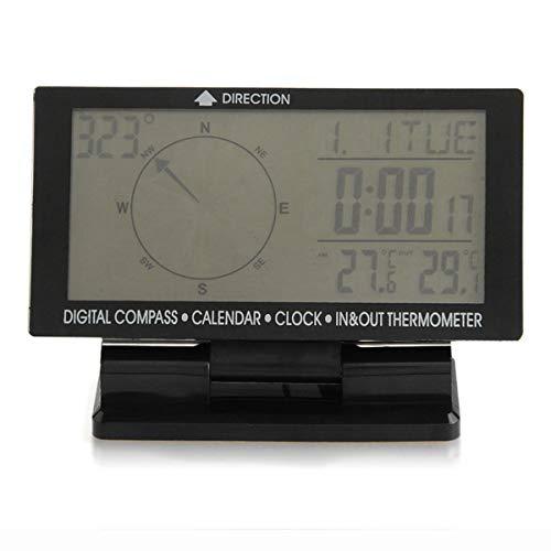 GOFORJUMP Haute précision 5in1 Thermomètre de Voiture numérique Rétro-éclairage Bleu Compas de Voiture À l'intérieur À l'extérieur Température Compteur Horloge Calendrier