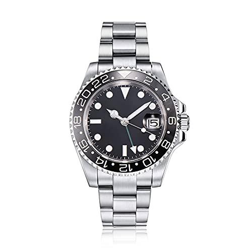 PARNIS by Collectors Club TW1000 GMT Automatikuhr 316L-Edelstahl Armbanduhr mit zweiter Zeitzone GMT Saphirglas 5BAR Wasserdicht