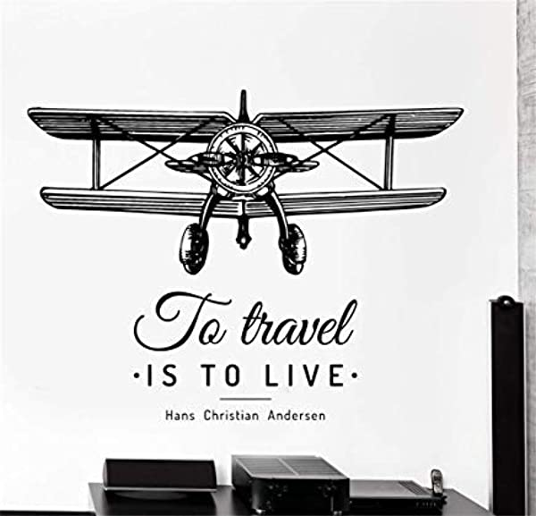 LilithCroft99 Airplane Freedom To Travel Is To Live Home Wall Decals For Kids Rooms Boys Girls Bedrooms Wall Art Decor Nursery Wall Stickers