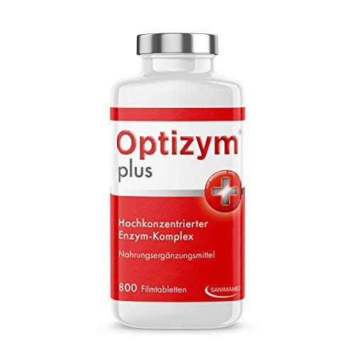 OPTIZYM plus Enzym-Komplex I 6-fach Enzyme in Kombination (Papain, Bromelain, Pankreatin, Rutin, Trypsin und Chymotrypsin) Hochdosiert - 800 Tabletten