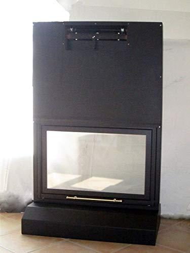 Puerta corredera con cristal cerámico 760° para chimenea, estufa de leña