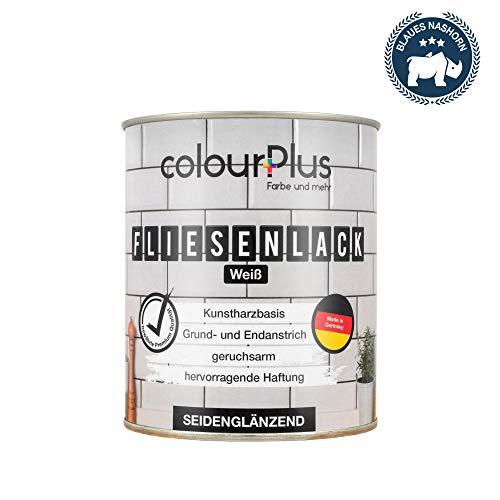 colorPlus Fliesenlack (750ml, Weiß) glänzender 1K Fliesenlack Weiß - Farbe für Fliesen - Fliesen streichen - Fliesenfarbe Bad - Made in Germany