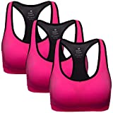 MIRITY Women Racerback Sports Bras - High Impact Workout Gym Activewear Bra Color Red Pack of 3