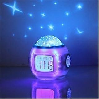 qiuxi Creative childrens night light Music Starry Star Sky Digital Led Projection Projector Alarm Clock Calendar