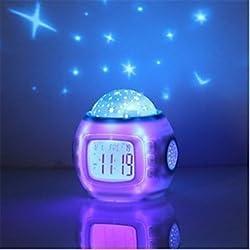 qiuxi Creative children's night light Music Starry Star Sky Digital Led Projection Projector Alarm Clock Calendar Thermometer horloge reloj despertador
