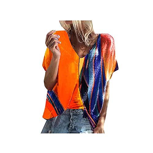 T Shirt Damen Kurzarm Regenbogen Nähte Farbe Lässig T-Shirt V-Ausschnitt Oversize Basic Shirts Pullover Sweatshirt(Orange,M)