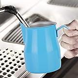 Taza de café con leche, jarra de espuma, jarra de espuma azul de 550 ml, café espresso Latte Art Making Bar de ocio para máquinas de capuchino Cafetería casera