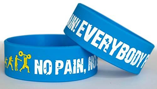 11thGear - Braccialetto da uomo in gomma siliconica per palestra, motivazionale, fitness, sport, per adulti, uomo, uomo, senza dolore e senza guadagno, 2 braccialetti (blu)
