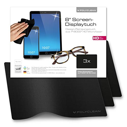 POLYCLEAN 3x Displaytuch – Reinigungstuch für Tablet, Notebooks & Laptops – Schutztuch für Bildschirm, Tastatur & Monitor (8 Zoll, Schwarz, 3 Stück)