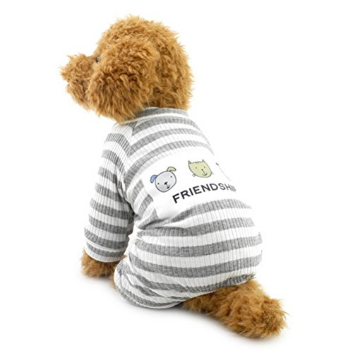ZUNEA Stripe Pigiama per cani di piccola taglia Cotton Puppy Tuta Felpe Outfits Cosy Soft Leisure Autunno Pet Cat Doggy Apparel Grigio L