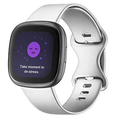 Adepoy Compatible con correa Fitbit Versa 3/correa Fitbit Sense, correas de repuesto de silicona suave para Fitbit Versa 3 y Fitbit Sense para mujeres y hombres (plata, pequeña)