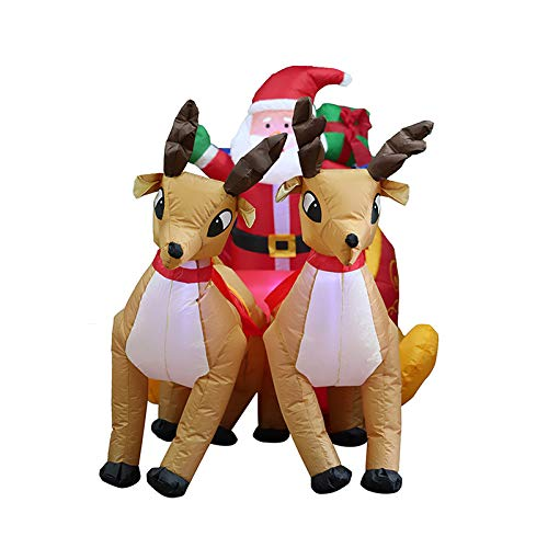 Riiai 2M Long Christmas Inflatable Santa Claus On Sleigh With Reindeer Yard LED Lights Blow Up Outdoor Indoor Holiday Decorations, For Xmas Home Family