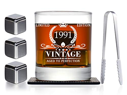 30th Birthday Gifts for Men, Vintage 1991 Whiskey Glass and Stones Funny 30 Birthday Gift for Son Husband Brother, 30th Bday Decorations Party Favors, 30 Year Old Anniversary Present Ideas for Him