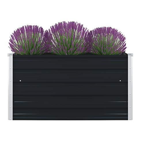 UBaymax Hochbeet Verzinkter Stahl Gartenbeet Pflanzbeet Frühbeet, Garten Blumenkasten Pflanzkasten Terrassen, 100 x 100 x 45 cm, Anthrazit