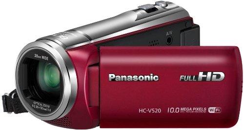 Panasonic HC-V520EGR Videocamera Full HD, Wi-Fi NFC Hybrid OIS, Zoom 80x, Rosso