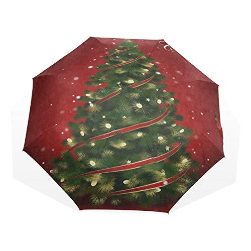 Umbrella Red Merry Christmas Tree Travel Golf Sun Rain Windproof umbrellas with UV Protection for Kids Girls Boys