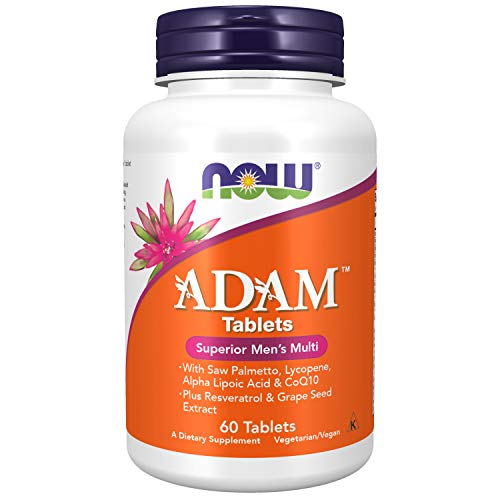 NOW Supplements, ADAM Men's Multivitamin with Saw Palmetto, Lycopene, Alpha Lipoic Acid and CoQ10, Plus Natural Resveratrol & Grape Seed Extract,Tablets,120 Count (Pack of 1)