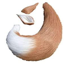 """Net Length of tail :25.5"""" (65cm). High Quality Artificial Faux Fur. One size fits most adult and children. One pair of hair clip ears and one tail with silk ribbon. Great gift to friends or children. Cosplay, romantic, halloween or fancy party fun!"""