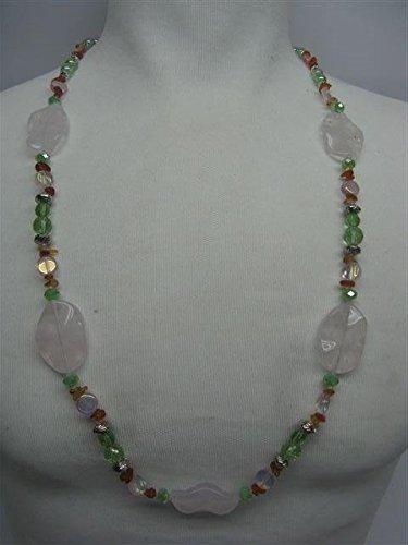 Natural mente – Collier Quartz rose, env. 65 cm, pierre naturelle, collier, chaîne, Quartz rose, n ° 1057