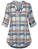 SeSe Code Buffalo Plaid Shirt,Juniors Tops V Neck Shirts 3/4 Cuffed Sleeve Lady Multi-Colored Grid Rouched Blouses Date Tunics Loose Fitting Blue Multi Plaid X-Large