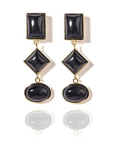 VintFlea Gemstones Jewelry - Pendientes de gota chapados en oro para mujeres y niñas