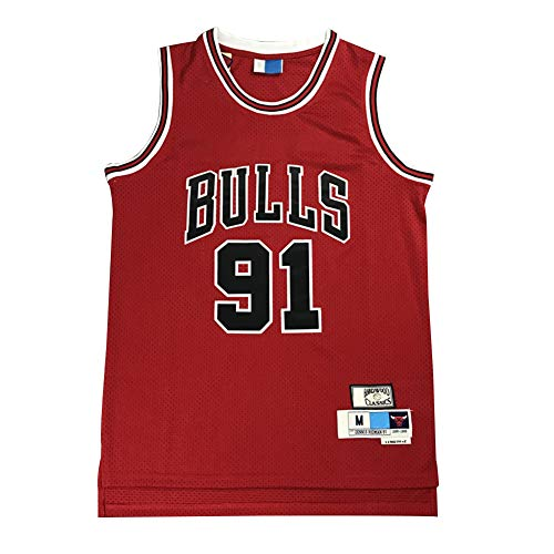 Legend Basketball Trikot, 91# Dennis Rodman Chicago Bulls Stickerei Atmungsaktives Swingman Trikot, 90S Hip Hop Kleidung T-Shirt Top für Party (XS-XXL)-XXL(190.195cm)