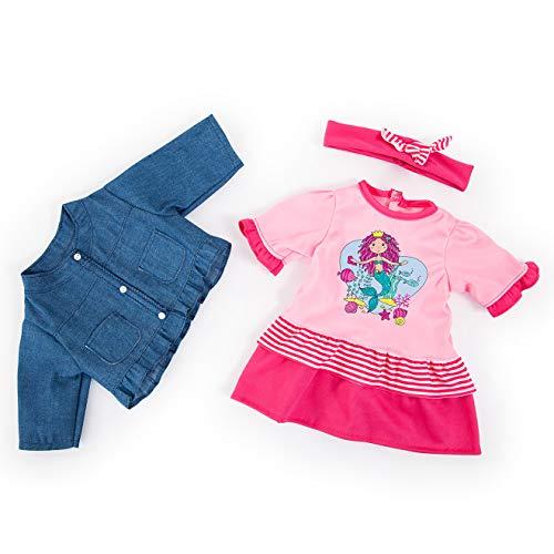 Bayer Design 84682AA Puppenkleidung für 40-46cm Puppen, Kleid, Jacke und Haarband, Outfit, Set mit Meerjungfrau, pink, blau