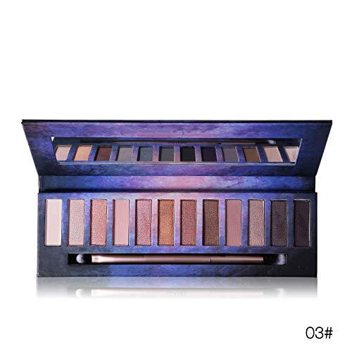 BHUJYG 12 Farbe Smoky Mattschimmer Lidschatten-Palette Schokoladen-Farben-Puder-Pigment Naked Sleek Schminkset,03