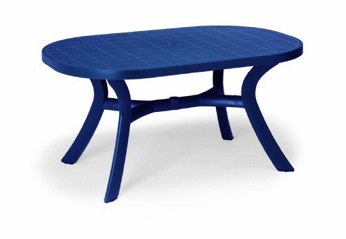 Beauty.Scouts Gartentisch Tisch Esstisch Veilchen mit abdeckbaren Schirmloch - Blau
