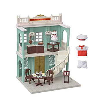Calico Critters Town Series Delicious Restaurant Fashion Dollhouse Playset Furniture and Accessories Included  CC3012