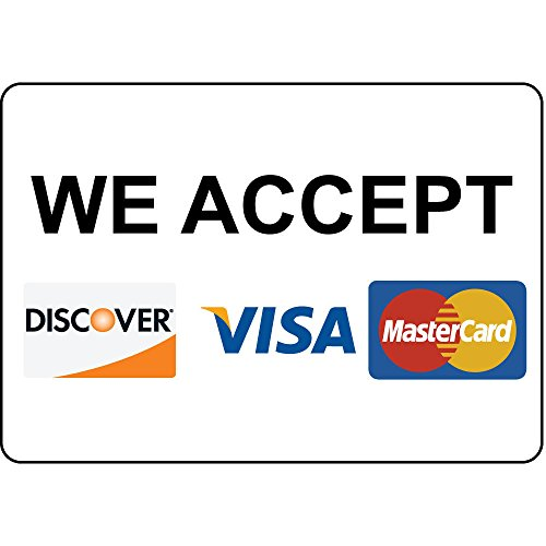 """We Accept Discover Visa MasterCard Label Vinyl Decal Sticker Kit OSHA Safety Label Compliance Signs 8"""""""