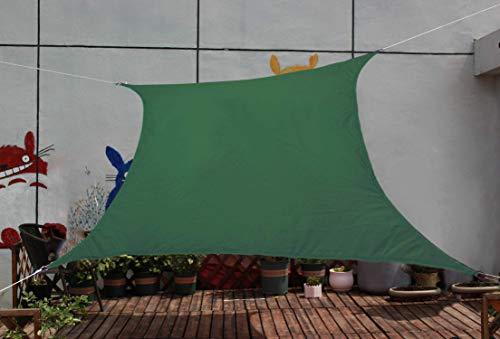Omnipro - Toldo triangular 3 x 4 m impermeable UV protección de poliéster, para jardín, terraza, camping, verde oscuro