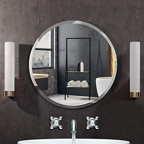 KOHROS Round Beveled Polished Frameless Wall Mirror for Bathroom, Vanity, Bedroom (31.5' Circle)