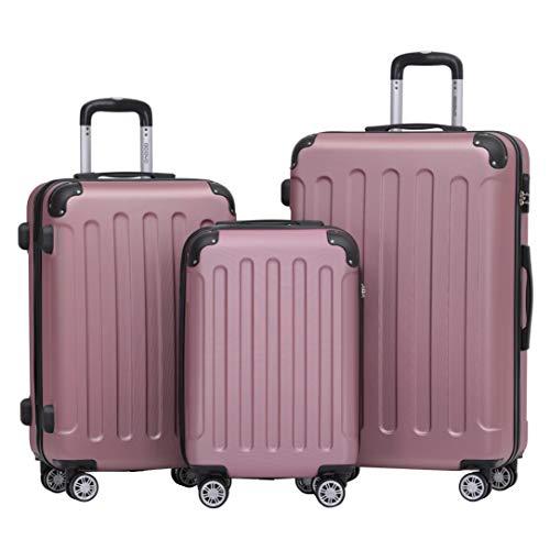 BEIBYE 2045 Zwillingsrollen 3tlg. Reisekoffer Koffer Kofferset Trolleys Hartschale in 14 Farben (Pink)