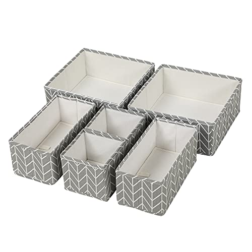 SONGMICS Aufbewahrungsboxen für Schublade, 6er Set, Unterwäsche-Organizer, Schubladen-Organizer, faltbare Stoffbox für Socken, Unterwäsche, BHs, Krawatten und Schals, grau