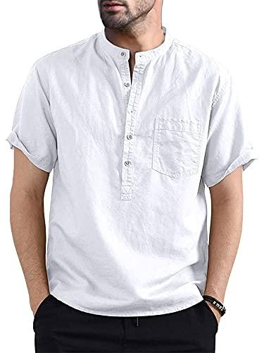 Dazzerake Camisa Henley de Lino y Algodón para Hombre Casual Blusa de Verano para Hombre Camisas de Playa de Manga Corta Camiseta Suave Informal de Verano (Blanco, S)