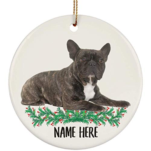 Lovesout Personalized Name Brindle Color French Bulldog Christmas Tree Ornament Circle Ceramic