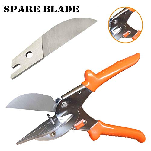 Multi Angle Miter Cutter | Plus Spare Blade | Hand Shear Multipurpose Tool | Cuts 45-135 Degrees | Stainless Steel with Rubber Handle & Safety Lock | Also Called Trim, Chamfer & Quarter Round Cutters