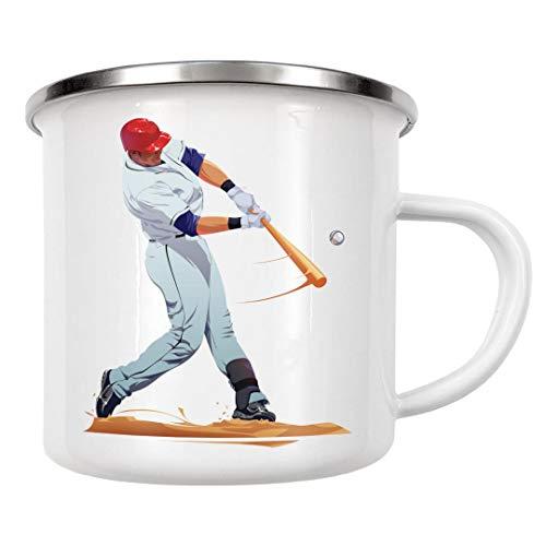 artboxONE Emaille Tasse Baseball von Nikita Abakumov - Emaille Becher Schwarzweiß