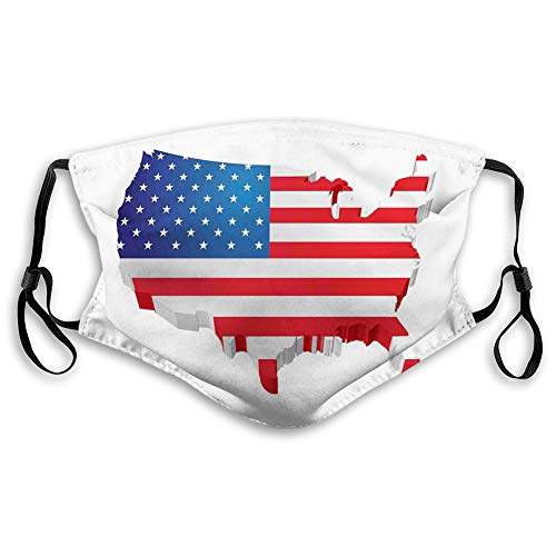 Women Men Multifunctional Half Face Bandana Reusable 3D Print Breathable Dust Protective Face Covering,3D Map of United States with Old Glory Theme Patriotic