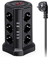 Sameriver Tour Multiprise, Multi Prises Électriques à 12 Prises et 5 Ports USB (2500W/10A), Multiprise Pare Foudre avec...