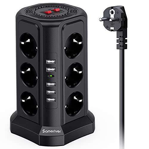 Regleta Vertical Torre Enchufes de 12 Tomas Corrientes, 5 USB Tomas y Interruptor, Regleta 5 Metros con Protección contra Sobrecargas Enchufe de Seguridad, 2500W/10A