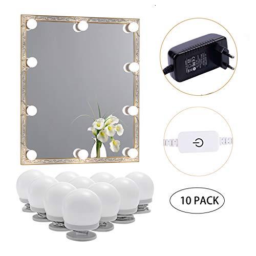 AIBOO LED Spiegelleuchte, Schminktisch Beleuchtung Mit 10 dimmbare Glühbirnen für Schminkspiegel, Kosmetikspiegel, Badezimmerspiegel, Spiegel Nicht Inbegriffen(Natürliches Weiß 4000K 12V Plug in)