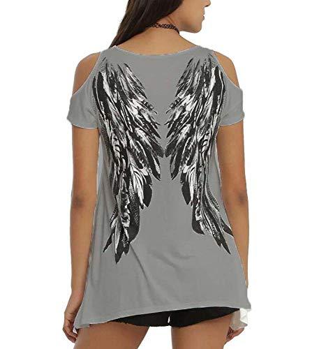 Camiseta Estampada con alas de ángel en la Espalda de Manga Corta para Mujer Tops Casuales Sueltos
