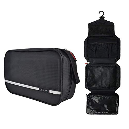 Hanging Toiletry Bag Waterproof, Jiemei Travel Wash Bag for Men & Women with 4 Compartments, Foldable Compact Size, Super Durable Fabric