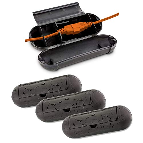 KOVOT Extension Cord Safety Cover Protectors 4 Pack | Black | Protects Plugs & Wires Against Rain & Snow